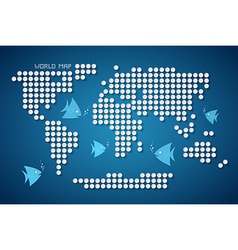 Dots World Map with Fish vector