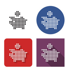 dotted icon piggy bank in four variants with vector image