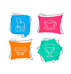 espresso tea bag and cappuccino icons wine glass vector image