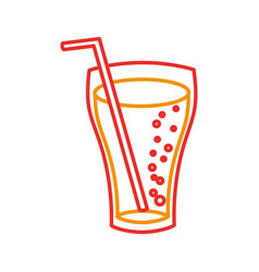 Fast food glass cup cola drink bubbles vector