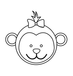 figure face monkey ribbon bow head vector image