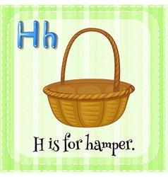 Flashcard letter H is for hamper vector