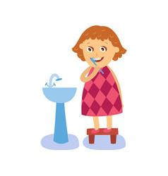 flat girl brushing teeth at washbasin vector image