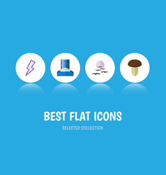 Flat icon ecology set of lightning cascade gull vector