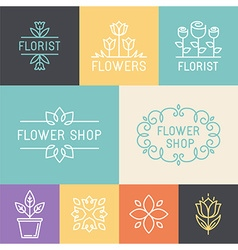Floral and gardening logos vector