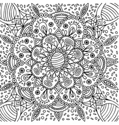 floral graphic mandala - coloring page for adults vector image