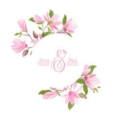 floral wreath with watercolor magnolia pastel vector image
