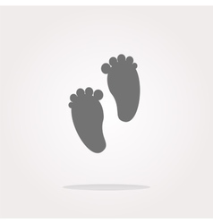 footprint circle glossy web icon on white vector image