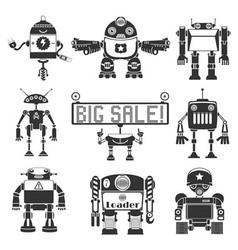 Funny Robots Silhouette vector