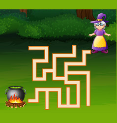 Game witch maze find their way to the for a cauldr vector