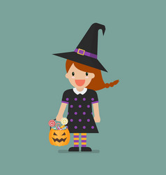 Girl in witch costume vector