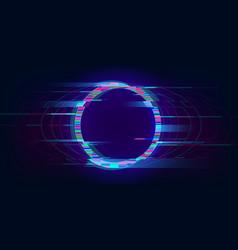 Glitch circle distorted glowing circle cyberpunk vector