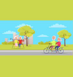 grandmother and grandfather sit on bench and ride vector image