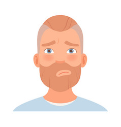 Guilty expression on a man with a beard vector