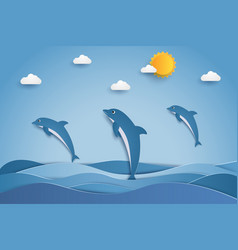 Happy dolphins jumping in sea waves paper art vector
