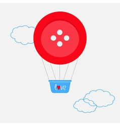 Hot air balloon made of big red button Dash line vector