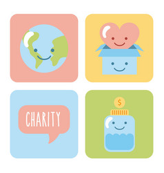 Icon set children donate vector