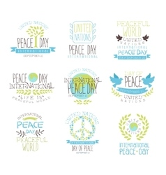 International Peace Day Set Of Label Designs In vector