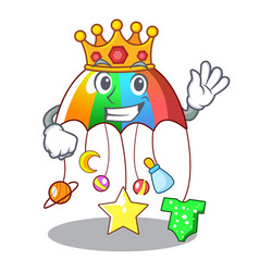 King baby playing with cartoon hanging toys vector