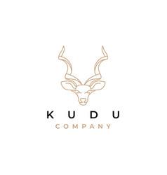 Kudu line art logo design vector