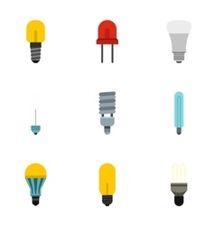Lamp icons set flat style vector