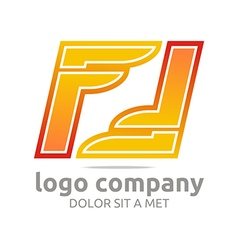 letter f alphabet orange company foot design vector image