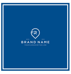 Letter fr pin logo design vector