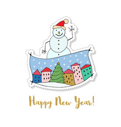 merry christmas and a happy new year cartoon card vector image