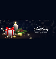 merry christmas and happy new year holiday banner vector image