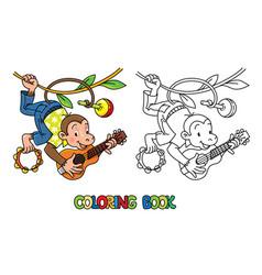 Monkey musician abc coloring book alphabet m vector
