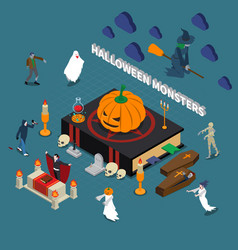 Monster halloween isometric composition vector