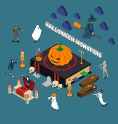 Monster halloween isometric composition vector