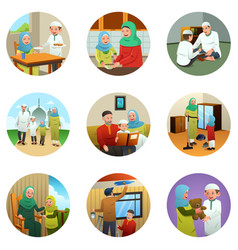 Muslim family doing different activities vector