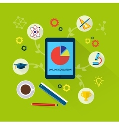 Online education concept with science icons vector image