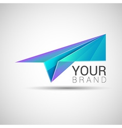 Paper plane logo design Purple turquoise color vector image