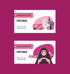 Pink and white business cards with driving licence vector