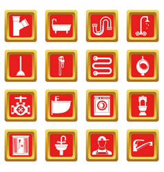 Plumbing icons set red vector