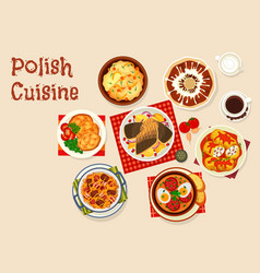 polish cuisine icon with meat and vegetable dish vector image