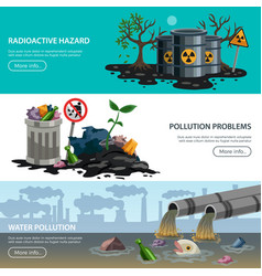Pollution ecology flat banners vector