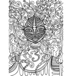 psychedelic goddess coloring page isolated vector image