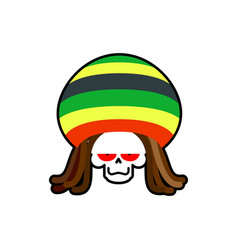 Rasta death rastafarian dreadlocks skull and vector
