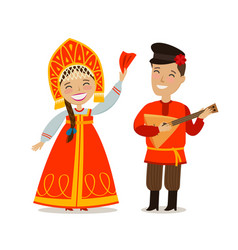 Russian people in folk national costume russia vector