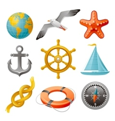 Sailing vacation and navigation elements colorful vector
