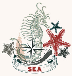 Sea background with seahorse in engraved style vector