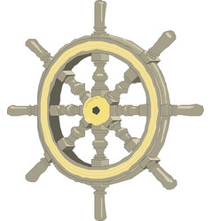 sea-craft steering wheel on a white background vector image