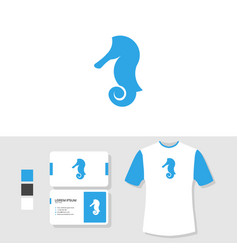 seahorse logo design with business card and t vector image