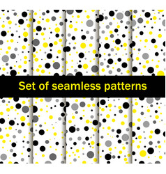 Seamless patterns with circles black and yellow vector