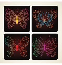 set of beauty butterflies vector image