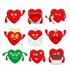 Set of cartoon heart characters vector