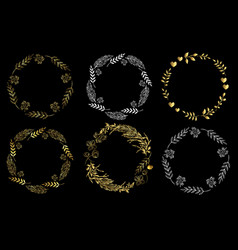 set of circle frames on a black background doodle vector image